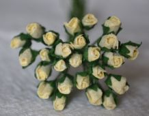 4mm CREAM ROSE BUDS Mulberry Paper Flowers